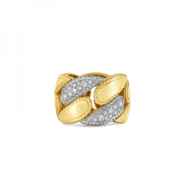 Groumette Link Ring with Diamonds by Roberto Coin Store Offerings