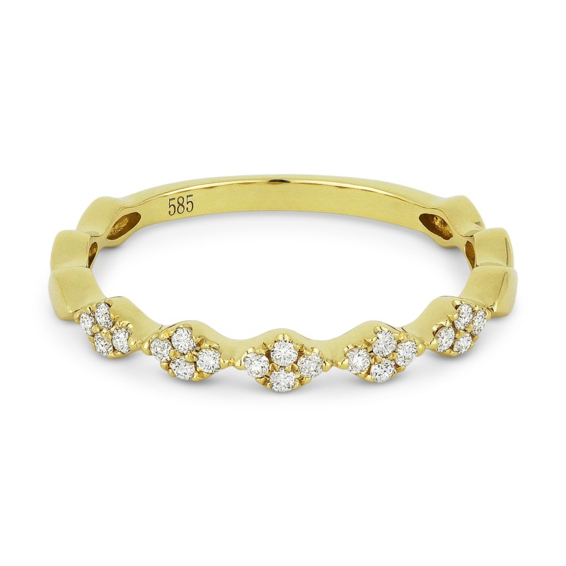 14k yellow gold stacking ring with pave round diamonds. Total weight: .12c