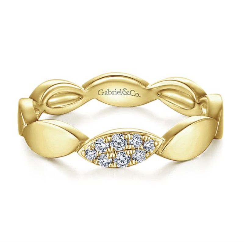 Gold + Diamond Stacking Ring by Gabriel & Co