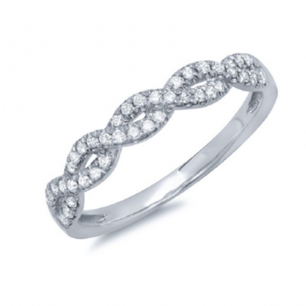 14k white gold stacking ring with pave round diamonds. Total weight: .22c