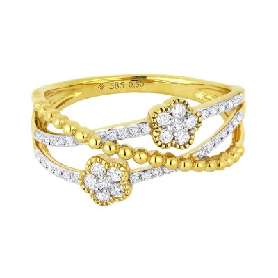 14kt yellow gold ring with three criss-crossed bands of gold and diamonds and two flower shaped pave diamond stations. Total weight .24ct