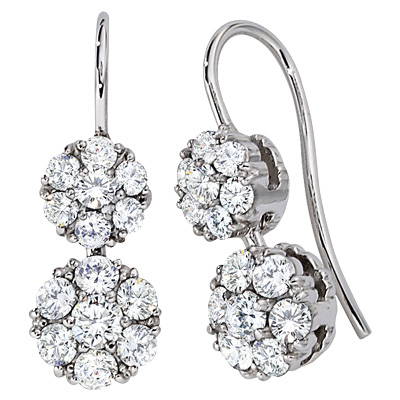 Diamond Cluster Drop Earrings by Jabel