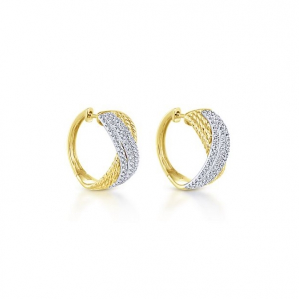 Gold + Diamond Hoops by Gabriel & Co