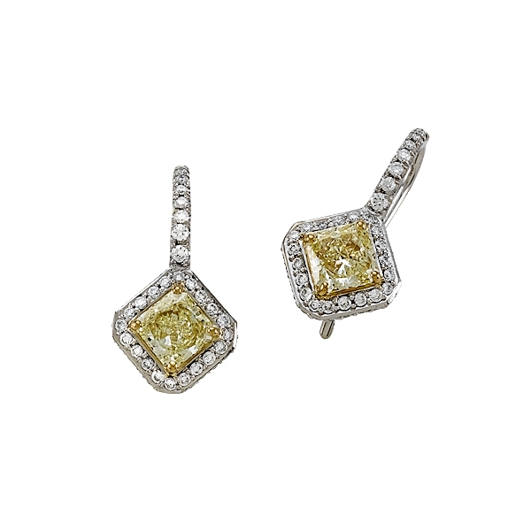 Yellow Diamond Drop Earrings by Yoni Diamonds