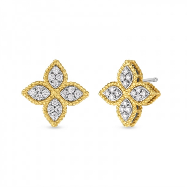 Princess Flower Medium Stud Earrings by Roberto Coin