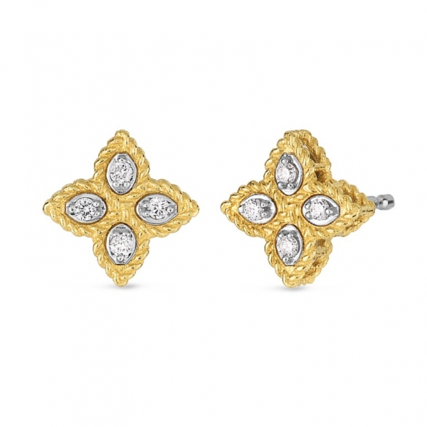 Princess Flower Small Stud Earrings by Roberto Coin Store Offerings