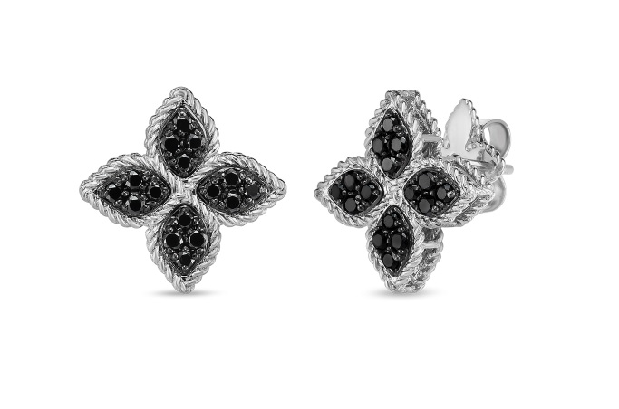 Princess Flower Black Diamond Earrings by Roberto Coin