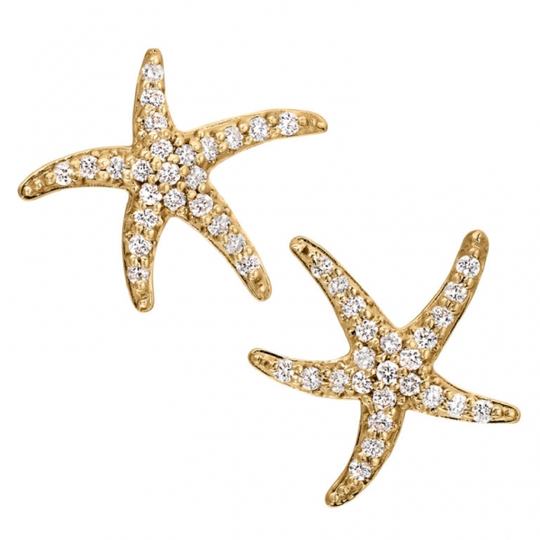 Diamond Starfish Earrings 001 150 02113 Stud From Hingham Jewelers Ma