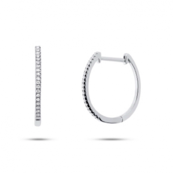 14k white gold polished huggie hoop earrings with round diamonds. Total weight: .11c