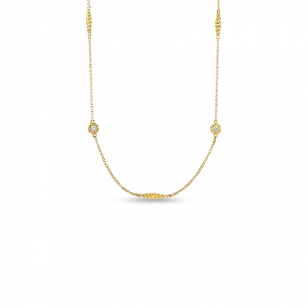 New Barocco Diamond Station Necklace by Roberto Coin Store Offerings