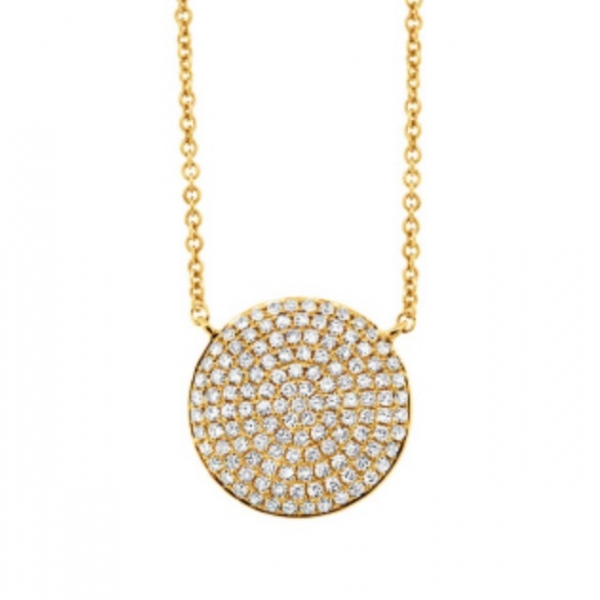Pave Diamond Disk Pendant by HJ Hot Jewels