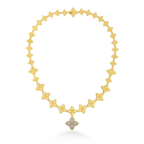 Princess Flower Diamond Link Collar with Drop by Roberto Coin Store Offerings