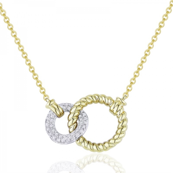 14k white gold necklace with a 14k yellow gold rope finish circle and an interlocking smaller 14k white gold circle with pave round diamonds. Total weight: .17c