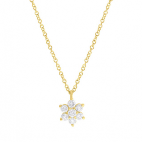 "14k yellow gold flower pendant with seven round diamonds on a 14k yellow gold 18"" adjustable chain. Total weight:  .31c"
