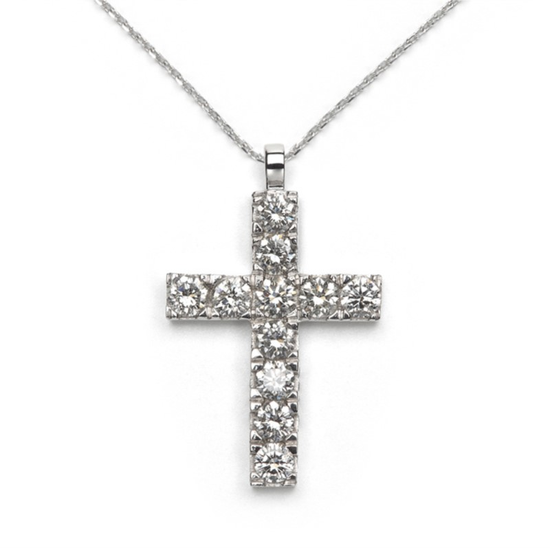 "14k white gold cross pendant with eleven round diamonds on a 14k white gold 18"" adjustable chain. Total weight: .20c"