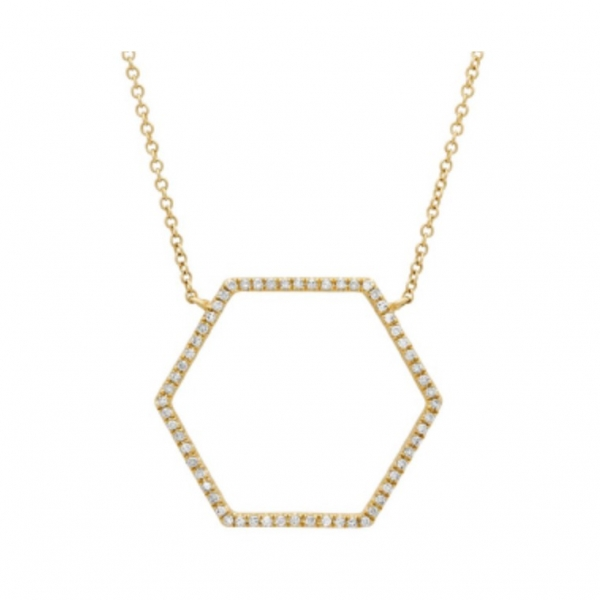 "18"" adjustable 14k yellow gold necklace with a diamond hexagon. Total weight: .25c"