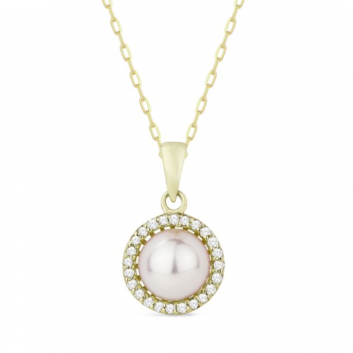 "Round halo pendant in 14kt yellow gold with a cultured pearl surrounded by round diamonds, total weight .08ct, on a 16"" rope chain"