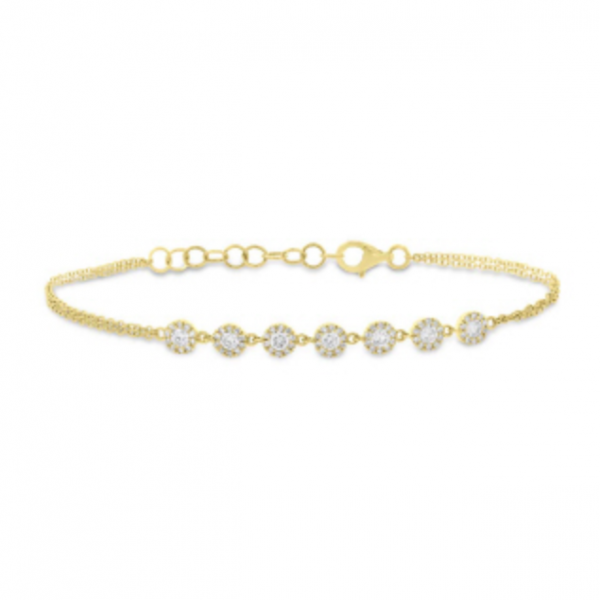 14k yellow gold double rope chain bracelet with seven round cluster stations on top with pave round diamonds. Total weight: .66c