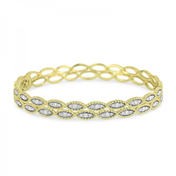 Diamond Hinged Bangle by HJ Hot Jewels