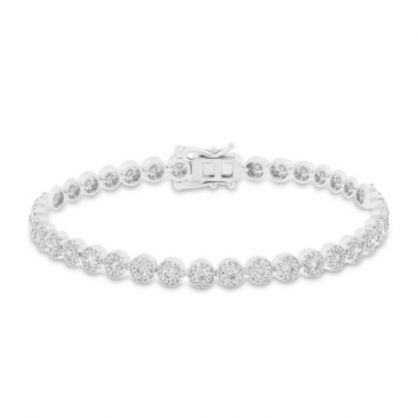 "7"" 14k white gold tennis bracelet with thirty-nine round clusters with pave round diamonds. Total weight: 3.03c."