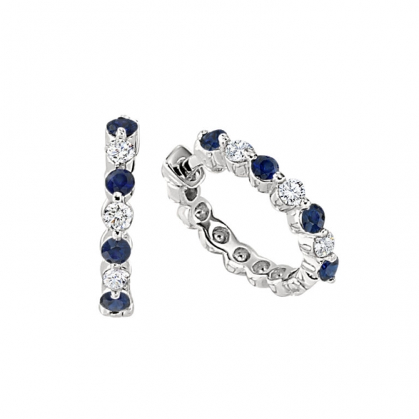 14k white gold huggie hoop earrings with four 2mm round sapphires alternating with three  round diamonds. Total weight: .18c