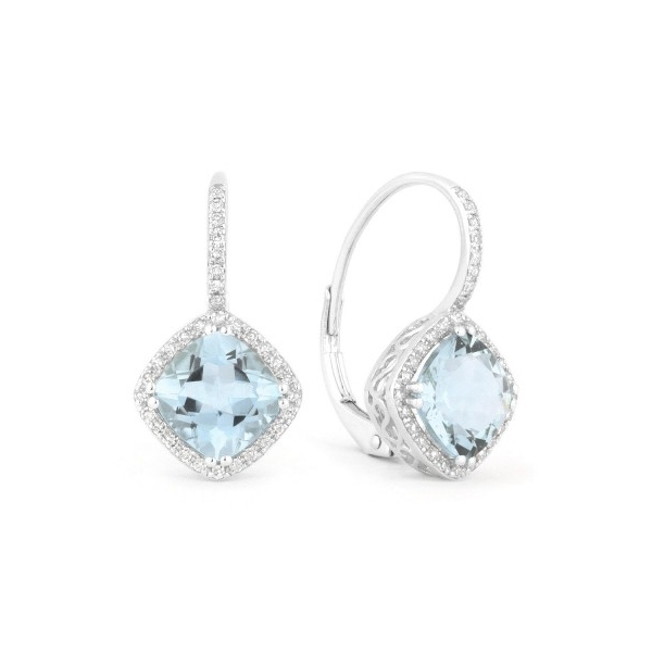 14k white gold  leverback earrings with a faceted cushion blue topaz (2 @ 3.66tw.) surrounded by  round diamonds (64 @ .19tw.)