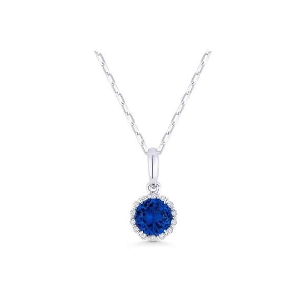 "14k white gold halo pendant necklace with a center .68ct. created sapphire surrounded by a row of fourteen round diamonds (.04tw.) on a 14k white gold 16"" chain."