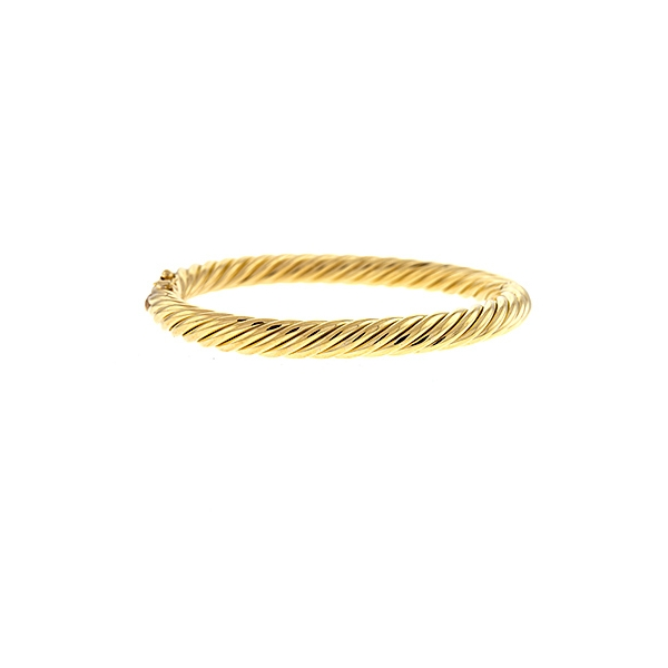 14k yellow gold 6.7mm twisted hinged bangle bracelet with a figure 8 safety.