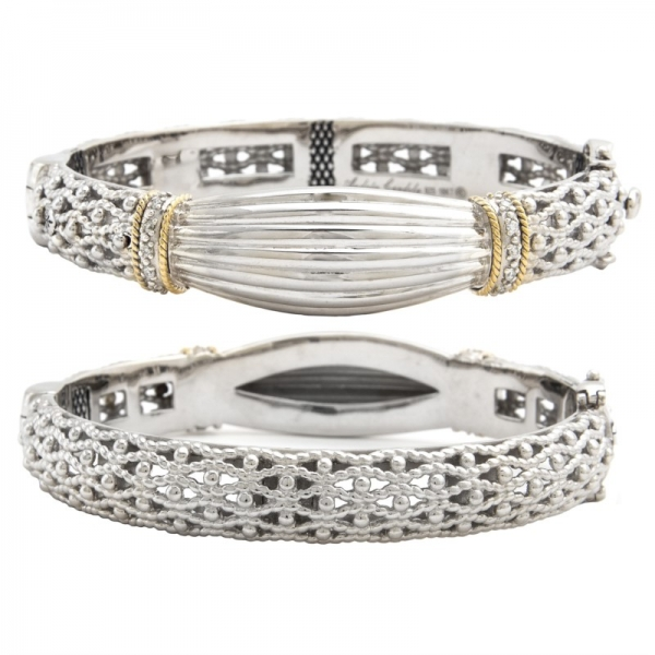 Sterling Silver + Diamond Bangle by Andrea Candela