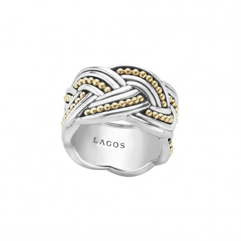 A knot band ring with 18k gold Caviar beading, flutes and smoothly polished sterling silver.