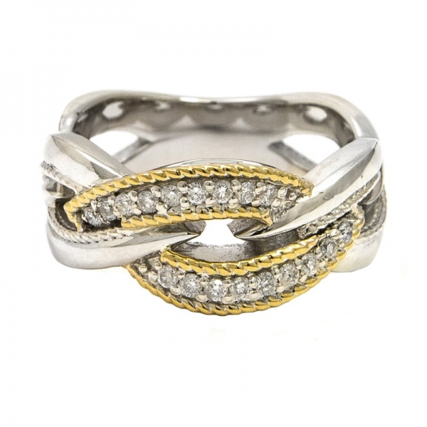 Sterling silver infinity ring with an18k yellow gold rope accent on top with round diamonds. Total weight: .21c