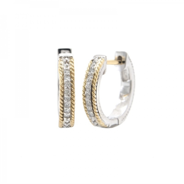 Sterling Silver + Diamond Hoops by Andrea Candela
