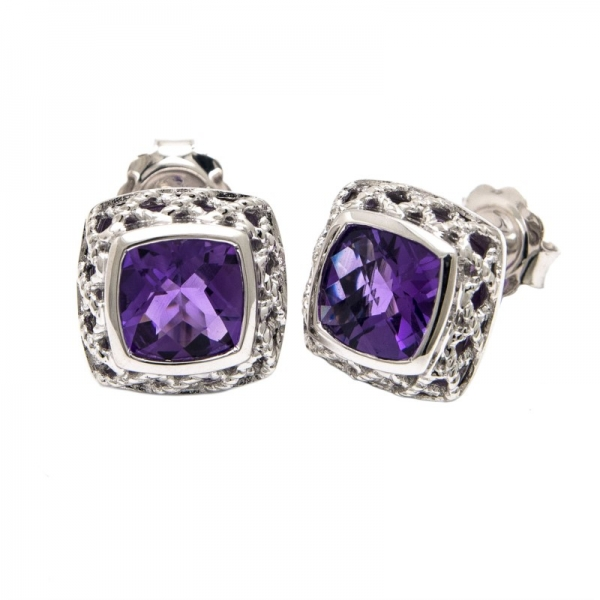 Amethyst Stud Earrings by Andrea Candela
