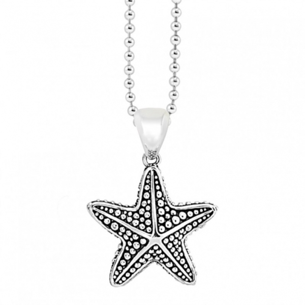 Be Magical! A dashing starfish crafted in sterling silver with Caviar beading. Finished on a versatile 34 inch ball chain.