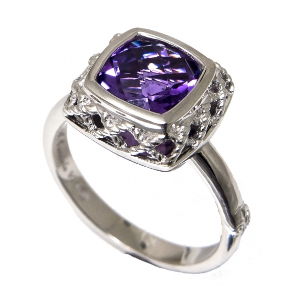Sterling Silver + Amethyst Ring by Andrea Candela