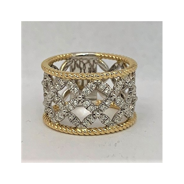 Two-tone gold and diamond wide stacking ring by Gabriel & Co