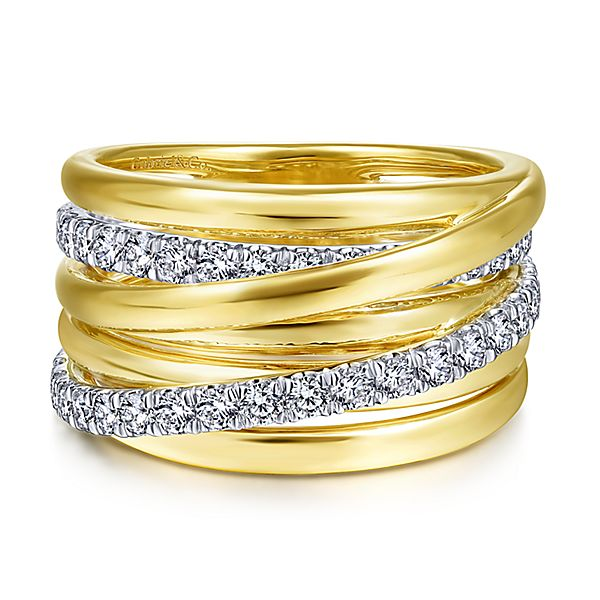 Two tone wide stacking ring with diamonds by Gabriel & Co