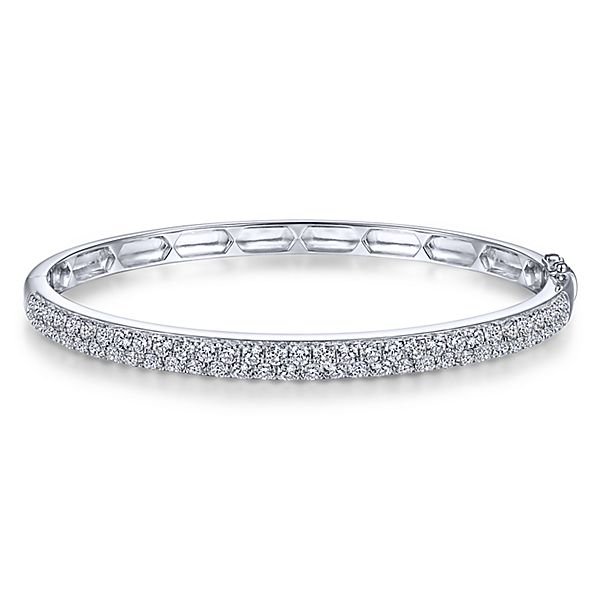 White gold and diamond hinged bangle by Gabriel & Co