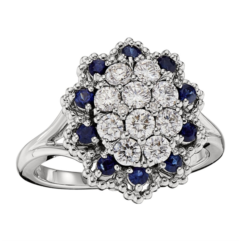 Diamond and Sapphire Cluster Ring by Jabel
