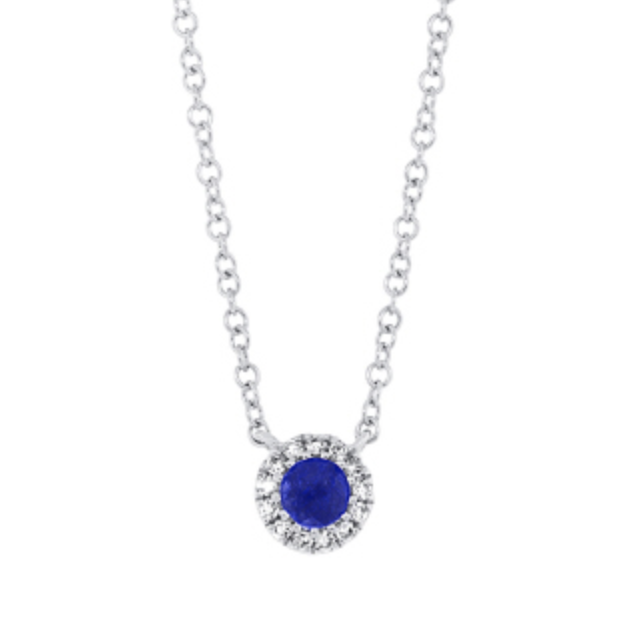 Sapphire Halo Necklace by HJ Hot Jewels